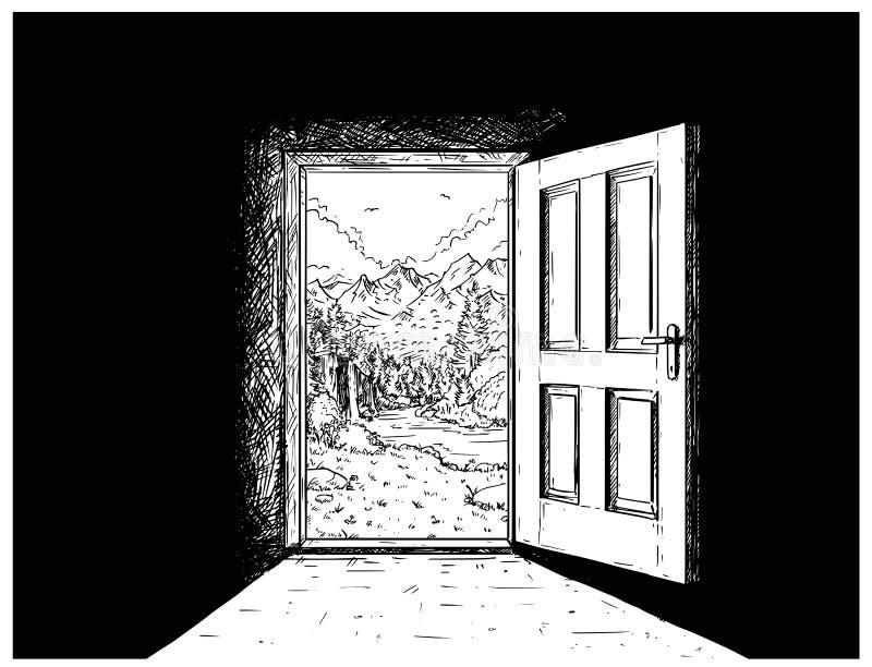 Tecknad filmvektor av dörren till naturfrihet vektor illustrationer