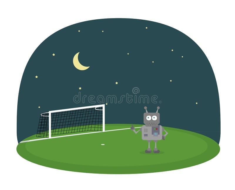 Tecknad filmvektor av roboten på ett fotbollfält under natthimmel med månen och stjärnor vektor illustrationer