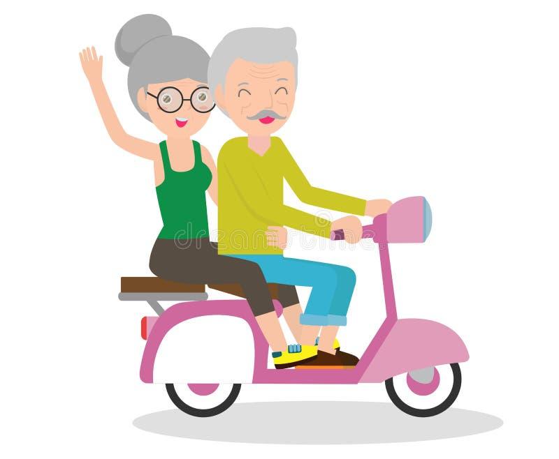 Tecknad filmvektorillustration av äldre par på mopeden, gamla människor som rider på deras motorcykel royaltyfri illustrationer