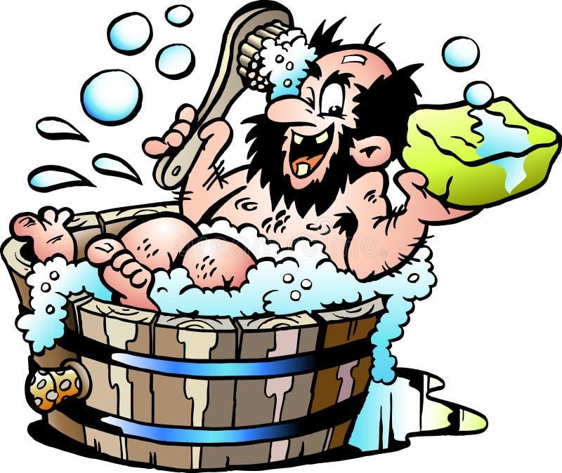 Tecknad filmvektorillustration av en gammal smutsig man som tvättar honom selv i ett träbadkar stock illustrationer