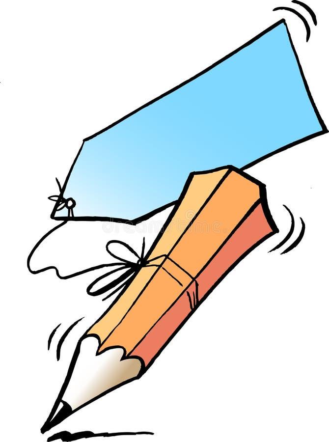 Tecknad filmvektorillustration av en handstilblyertspenna och en anteckning royaltyfri illustrationer