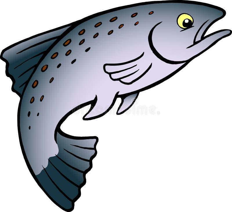 Tecknad filmvektorillustration av en lax- eller forellfisk royaltyfri illustrationer