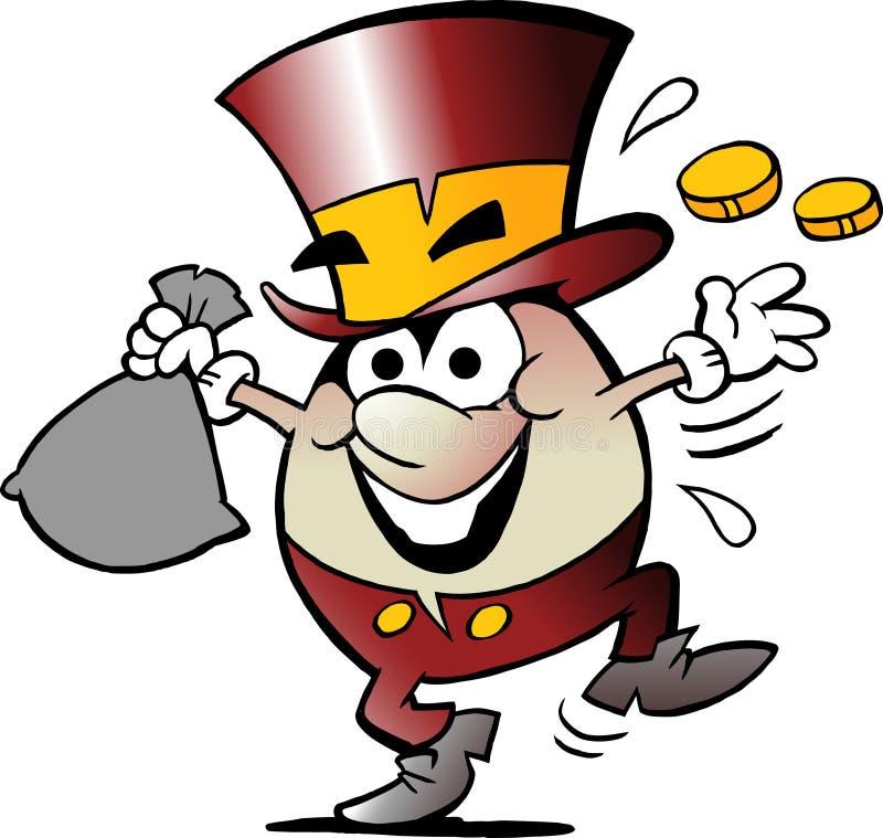 Tecknad filmvektorillustration av en lycklig guld- äggmaskot med massor av pengar royaltyfri illustrationer