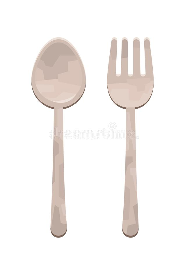 Tecknad filmvektorillustration av gaffeln och skeden som isoleras på vit bakgrund royaltyfri illustrationer