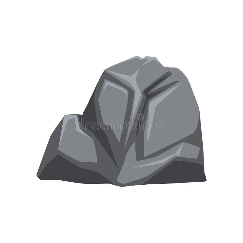 Tecknad filmvektorillustration av grå färgstenen med ljus och skuggor Fast mineraliskt material Berget vaggar Objekt för översikt royaltyfri illustrationer