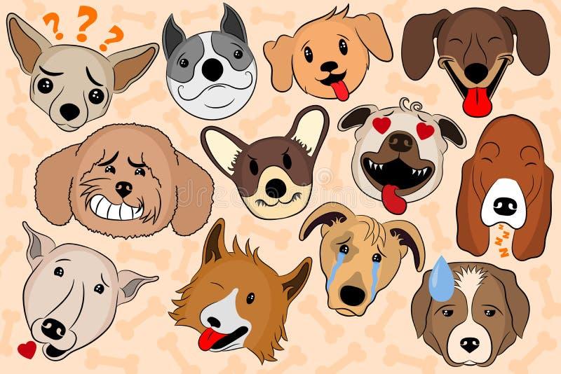 Tecknad filmvektorillustration av rolig hundkapplöpning som uttrycker sinnesrörelser Valpemoji som visar olika sinnesrörelser royaltyfri illustrationer