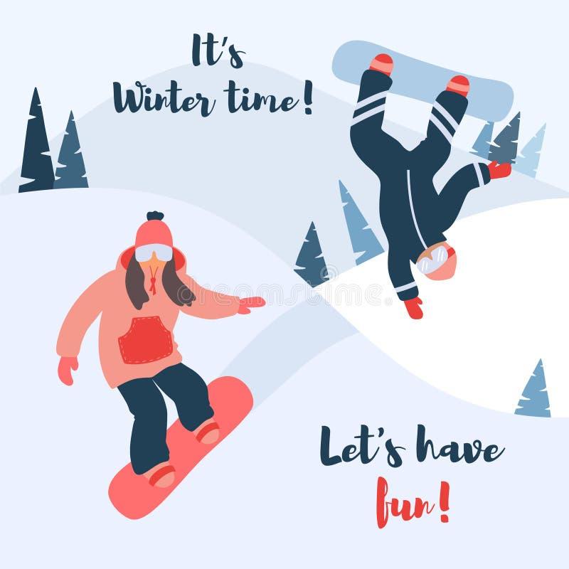 Tecknad filmvektorillustration av snowboarden vektor illustrationer