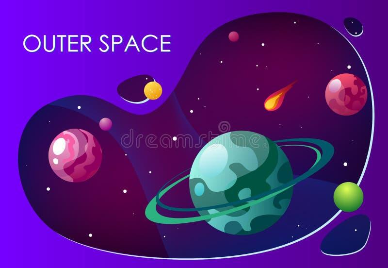 Tecknad filmvektorillustration med yttre rymd Vektorbakgrundsgalax royaltyfri illustrationer