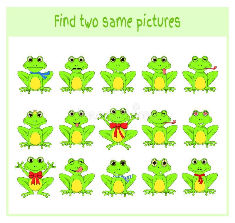 Tecknad filmvektorillustrationen av att finna två samma föreställer exakt bildande aktivitet för förskole- barn med vektor illustrationer