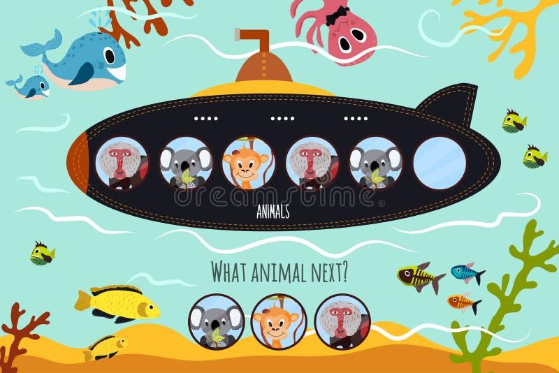 Tecknad filmvektorillustrationen av utbildning ska fortsätta den logiska serien av färgglade djur på ubåten i havet bland havet stock illustrationer