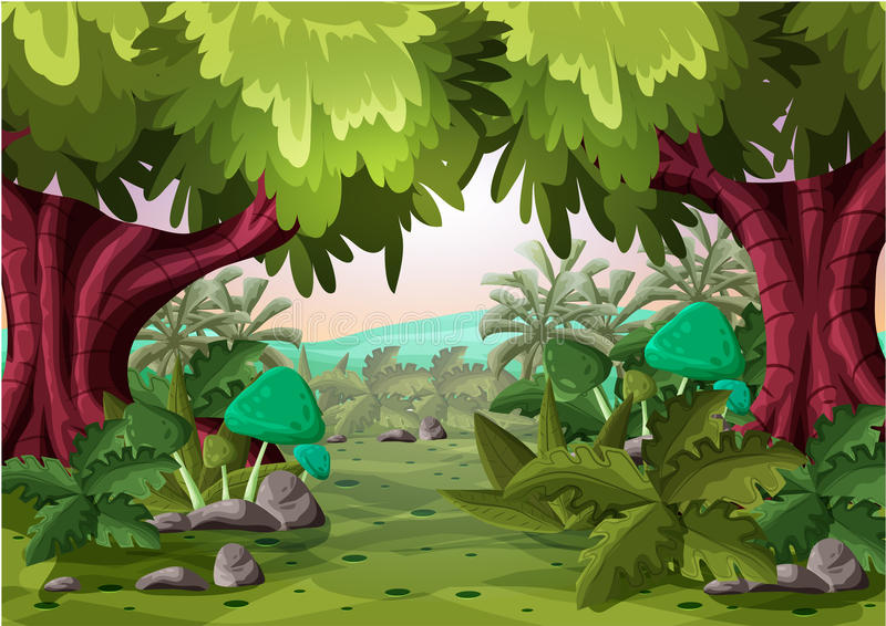 Tecknad filmvektorlandskap med avskilda lager för lek och animering royaltyfria foton