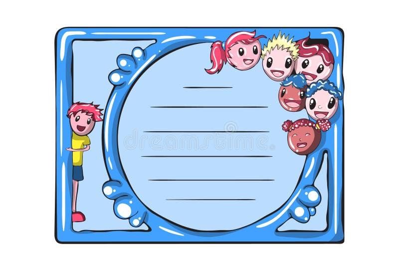 Tecknad filmvektorminneslista, kort, anmärkningar, klistermärkear, etiketter, etiketter Mall för att hälsa restbokningen, lycköns vektor illustrationer