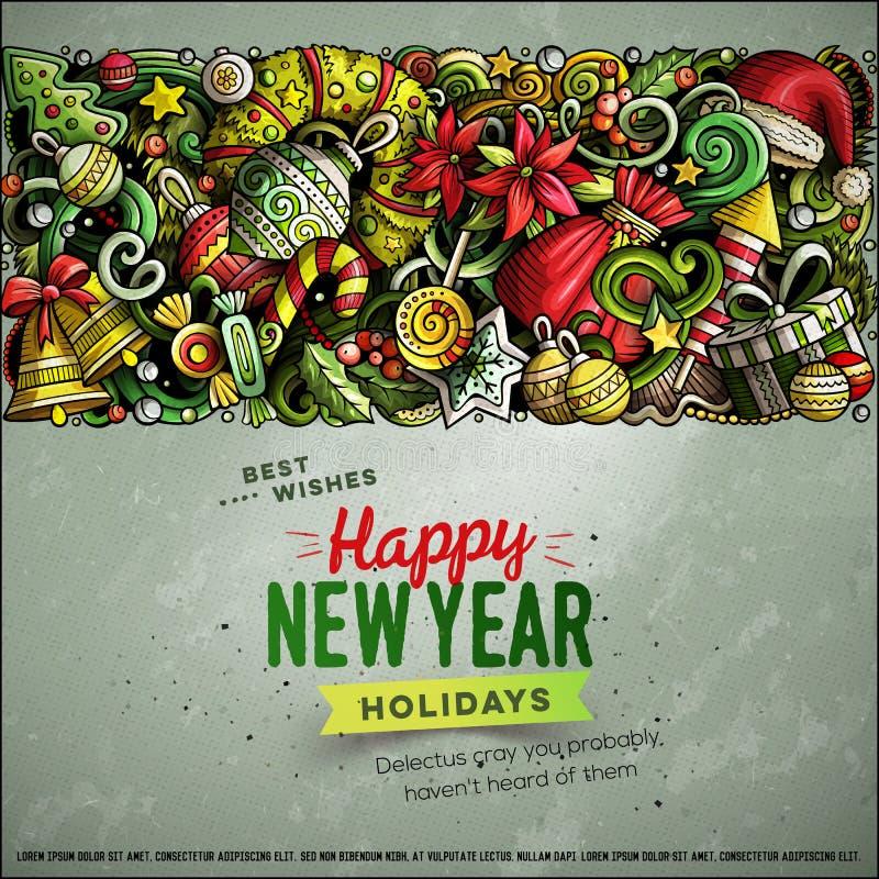 Tecknad filmvektorn klottrar för bandkort för glad jul horisontaldesign stock illustrationer