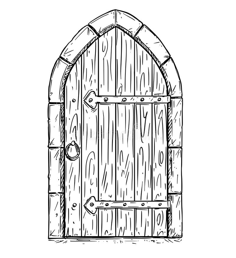 Tecknad filmvektorteckning av trämedeltida dörren som stängs eller den låsas vektor illustrationer