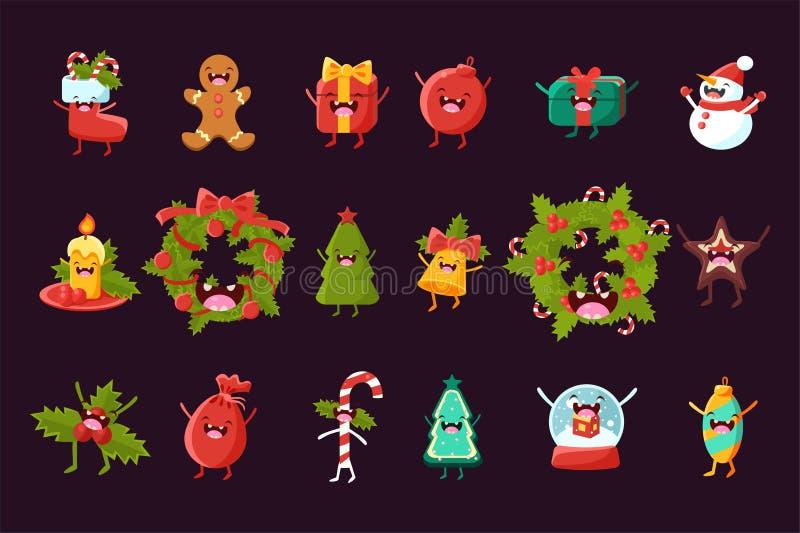 Tecknad filmvektoruppsättning av julsymboler med lyckliga framsidor Järnekkrans, gran-träd, snögubbe, godisrotting, pepparkakaman royaltyfri illustrationer