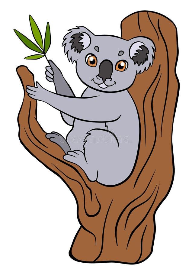 Tecknad filmvilda djur för ungar Gullig liten koala royaltyfri illustrationer