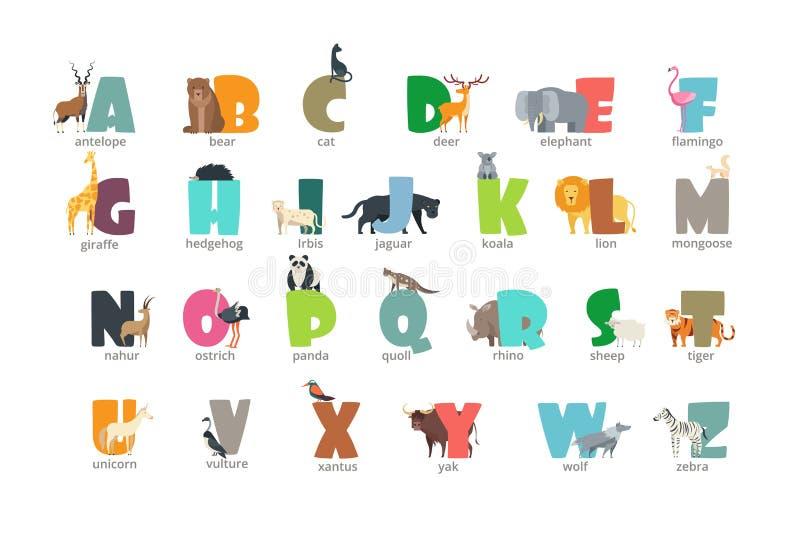 Tecknad filmvilda djur lurar alfabetet för barn som studerar engelska Utbildningsvektorbakgrund royaltyfri illustrationer