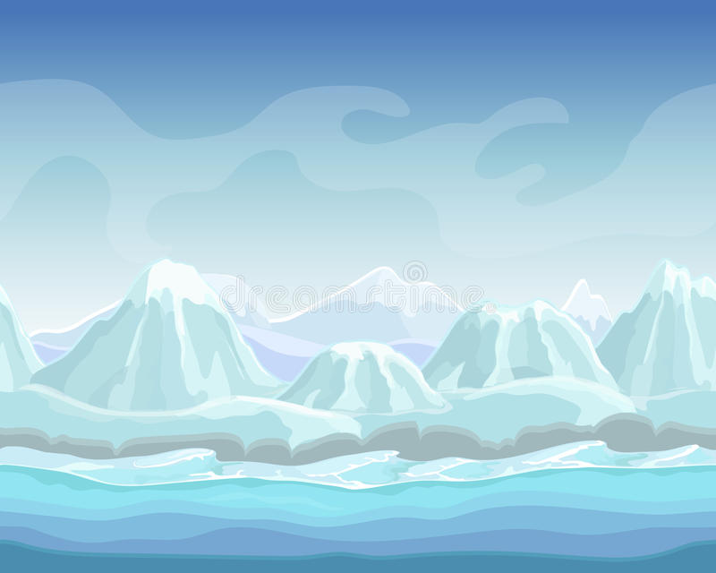 Tecknad filmvinterlandskap med bakgrund för natur för vektor för snöberg sömlös för lekar polar miljöillustration stock illustrationer