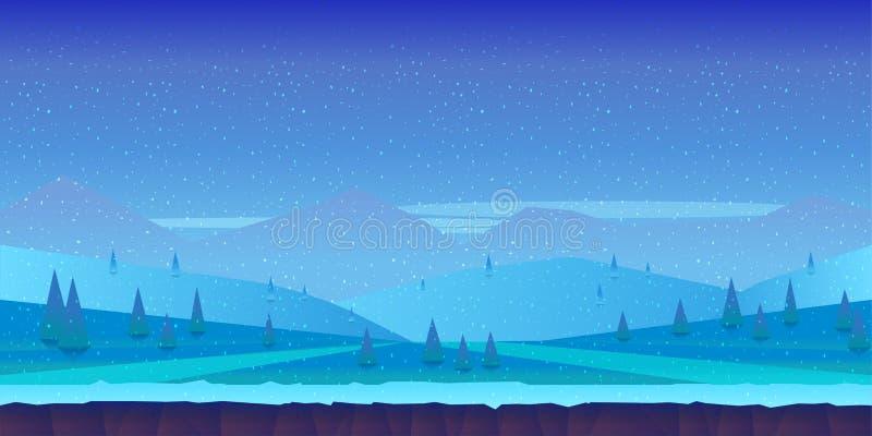 Tecknad filmvinterlandskap med is, snö och molnig himmel vektornaturbakgrund för lekar royaltyfri illustrationer