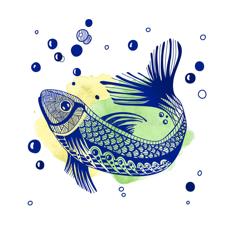 tecknad fiskhand royaltyfri foto