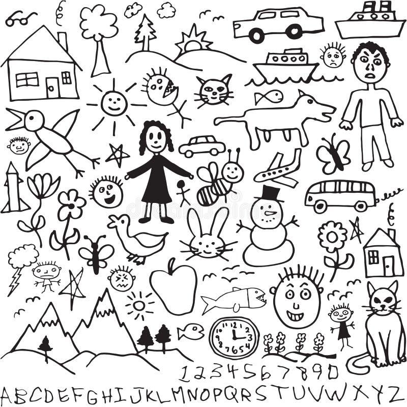 tecknad hand för barn teckningar som den unika seten vektor illustrationer