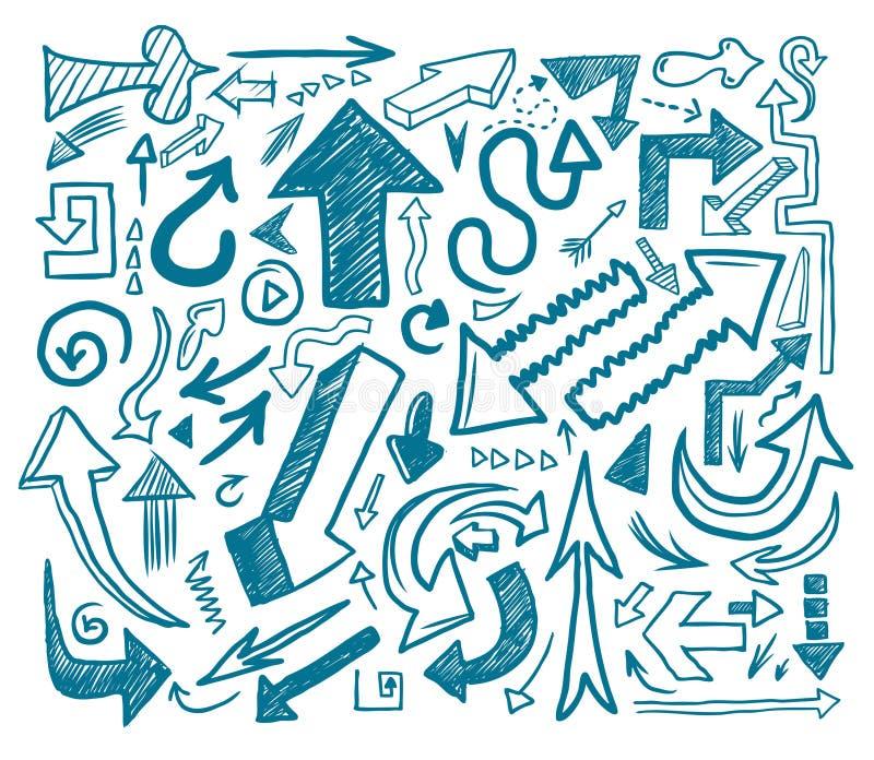 tecknad hand för pil klotter stock illustrationer