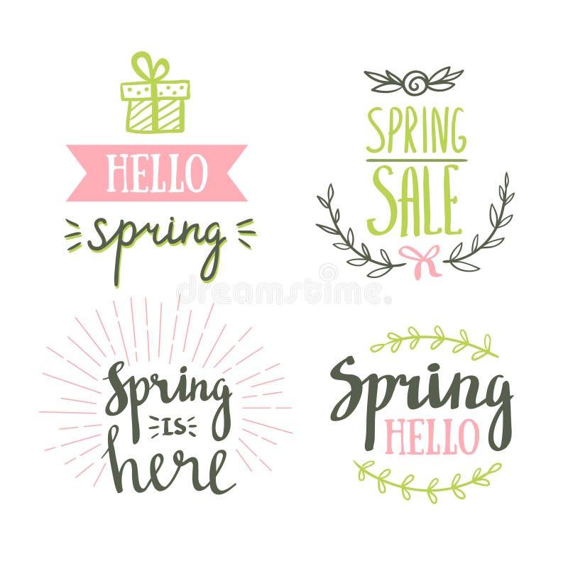tecknad handbokstäverfjäder Påsken semestrar bokstäver för inbjudan, försäljning, hälsningkort, tryck och affischer vektor illustrationer