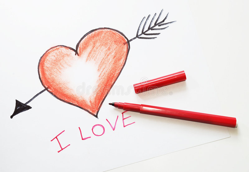 tecknad hjärta arkivbild