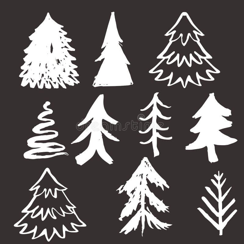 Tecknad julgranhand stock illustrationer
