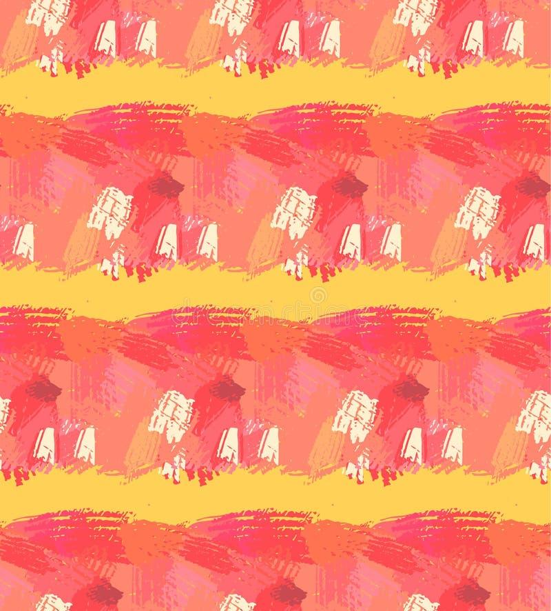 tecknad seamless handmodell Abstrakt bakgrund med borsteslaglängder Varma färger räcker utdragen textur stock illustrationer