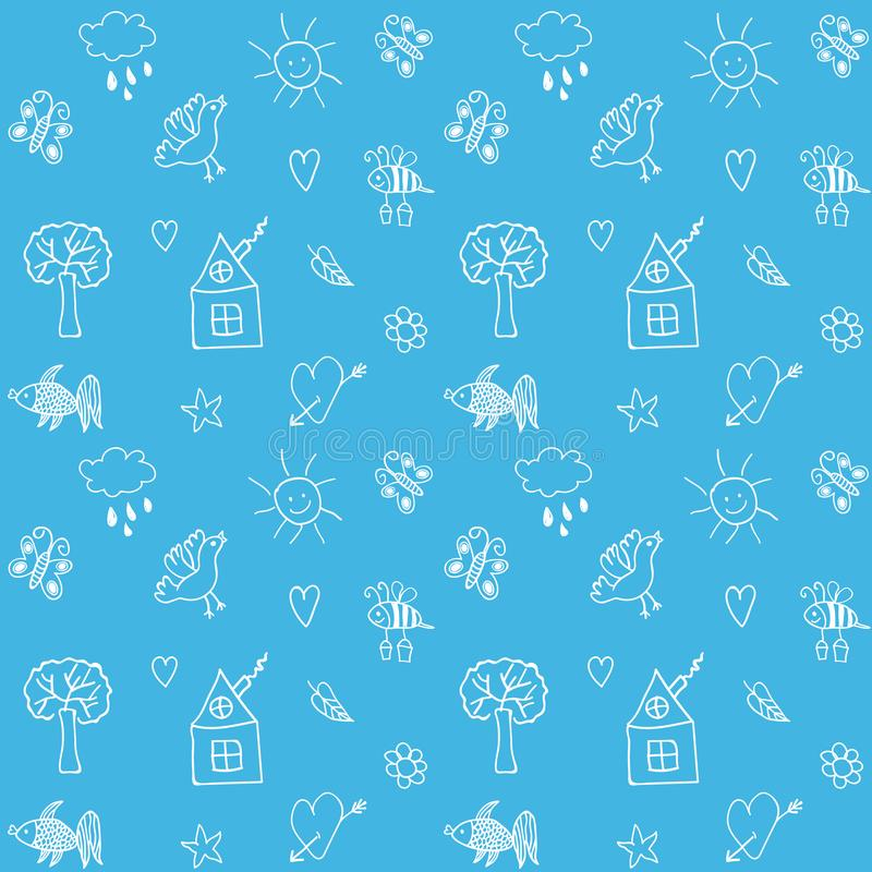 tecknad seamless handmodell Blåtthav, Sky & moln också vektor för coreldrawillustration vektor illustrationer