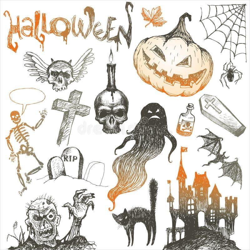 tecknad set för halloween handfasa stock illustrationer