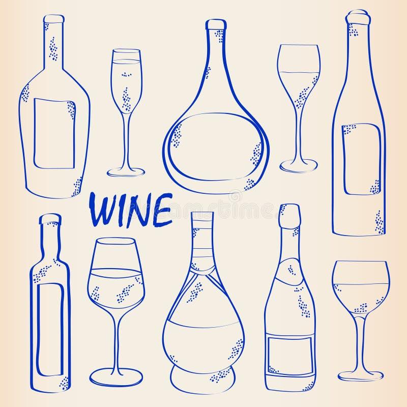 tecknad set wine för handsymbol royaltyfri illustrationer
