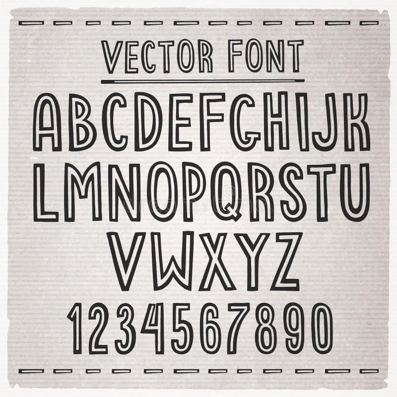 tecknad stilsortshand alfabetelement som scrapbooking vektorn vektor illustrationer