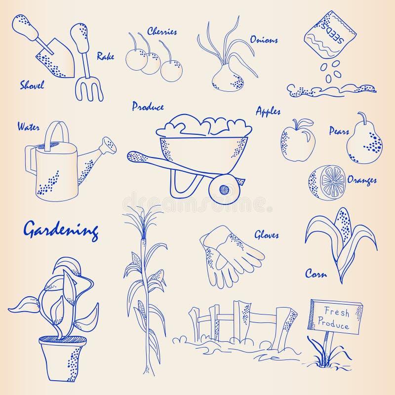 tecknad trädgårds- handsymbolsset royaltyfri illustrationer