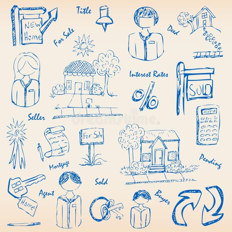 tecknad verklig set för godshandsymbol vektor illustrationer
