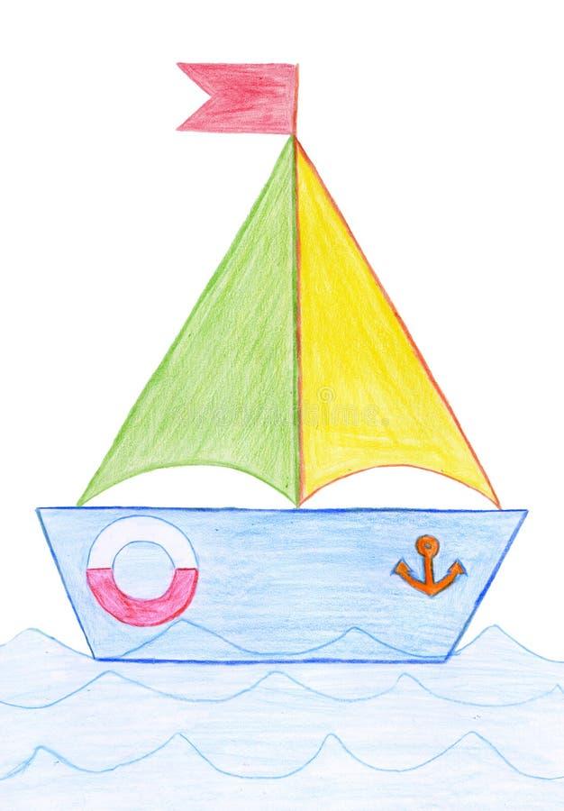 tecknad yacht royaltyfri bild
