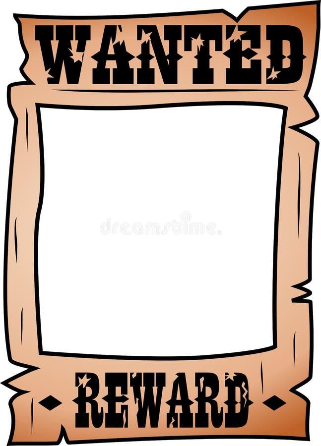 Tecknade filmen önskade affischen med Whitespace stock illustrationer