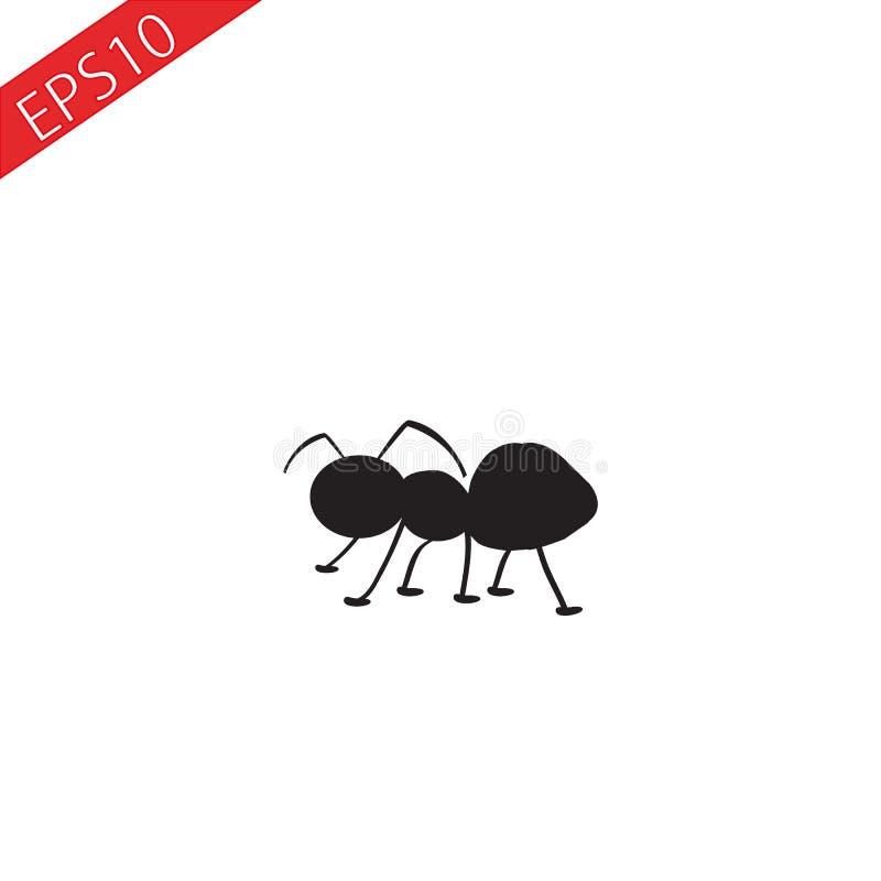 Tecknade filmen Ant Insect Bug stiliserade den svarta konturvektorsymbolen royaltyfri illustrationer