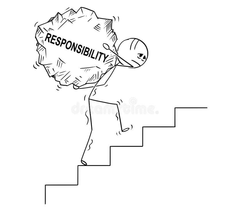 Tecknade filmen av mannen som uppför trappan bär det stora stycket av, vaggar med textansvar vektor illustrationer