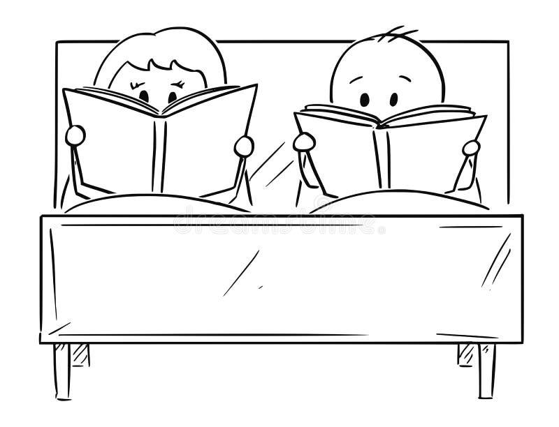 Tecknade filmen av par i säng, både mannen och kvinnan är läseboken stock illustrationer