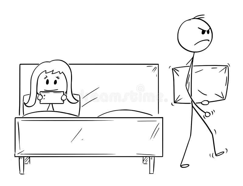 Tecknade filmen av par, man kasserades av kvinnan och lämnar säng med kudden vektor illustrationer