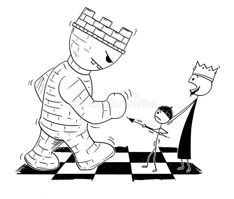 Tecknade filmen av schackkonungen Endangered vid det jätte- tornet eller råka och liten överföring pantsätter för att försvara ho royaltyfri illustrationer