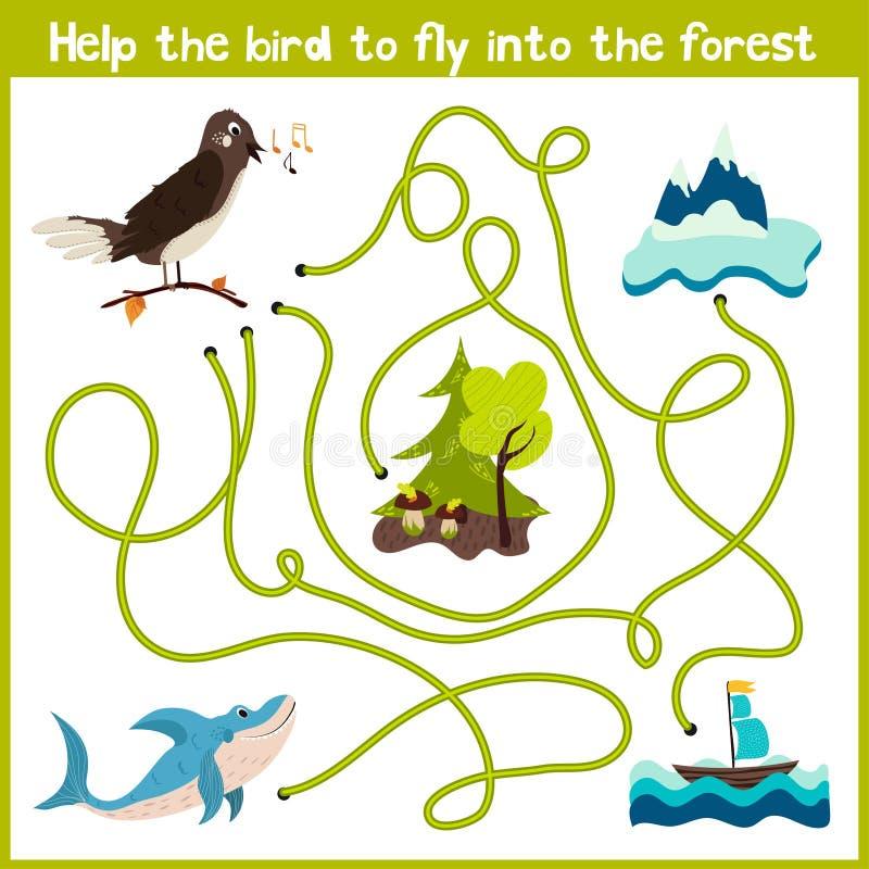 Tecknade filmen av utbildning ska fortsätta hemmet för den logiska vägen av färgglade djur Hjälp fågelnäktergalet att få hemmet i royaltyfri illustrationer