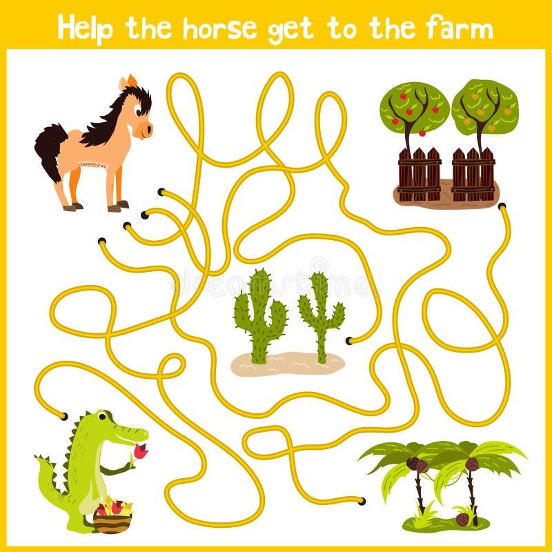Tecknade filmen av utbildning ska fortsätta hemmet för den logiska vägen av färgglade djur Spendera ett trevligt hem på hästlantg stock illustrationer