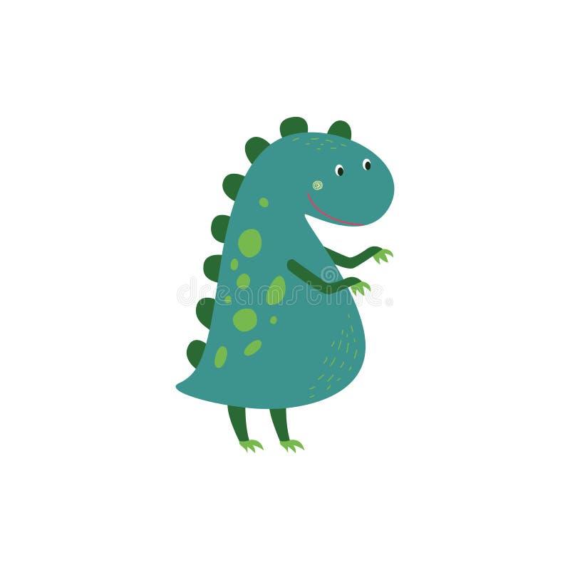 Tecknade filmen behandla som ett barn den plana illustrationen för dinosaurien som eller för den gulliga drakevektorn isoleras på vektor illustrationer