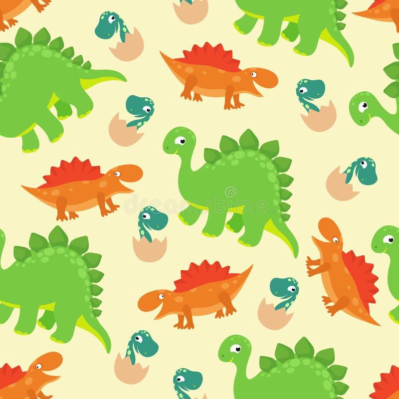 Tecknade filmen behandla som ett barn den sömlösa modellen för dinosaurievektorn för flickamodedesign royaltyfri illustrationer