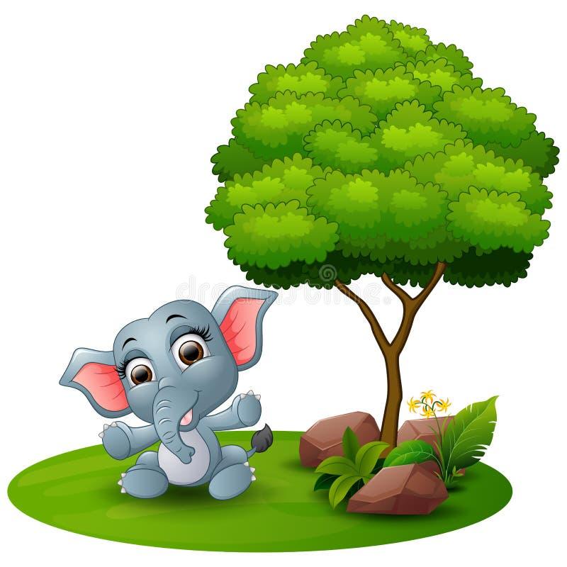 Tecknade filmen behandla som ett barn elefantsammanträde under ett träd på en vit bakgrund vektor illustrationer