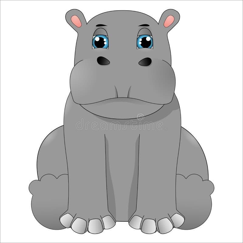 Tecknade filmen behandla som ett barn flodhästen vektor illustrationer