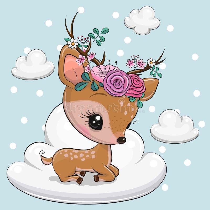 Tecknade filmen behandla som ett barn hjortar ligger på molnet royaltyfri illustrationer